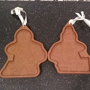 Longaberger Gingerbread Boy Girl 2 Clay Mold Lot